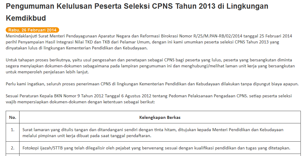 Syarat Syarat Tes Cpns Cpns Indonesia Informasi Pendaftaran Cpns 20152016 Syarat Syarat Dokumen Untuk Pemberkasan Nip Cpns Kemendikbud Yang