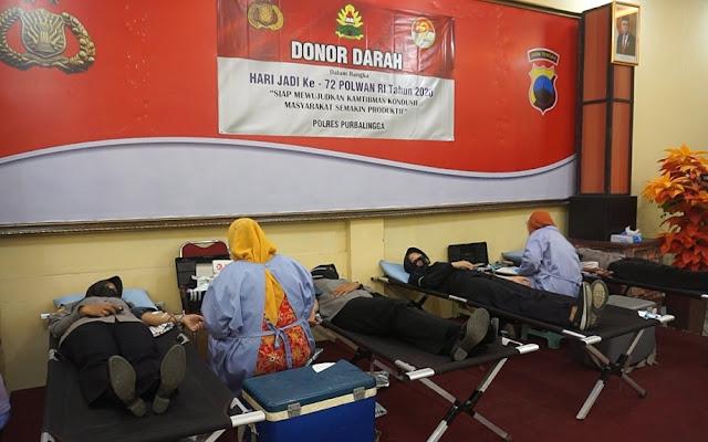 125 Peserta Ikuti Donor Darah Polwan Polres Purbalingga