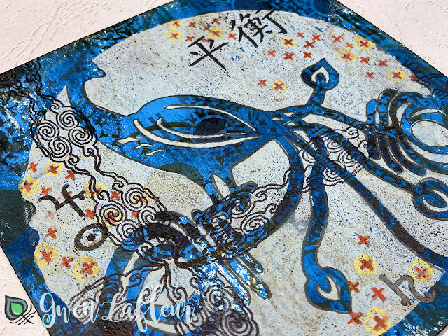 Printmaking with Stencils - Mixed Media Project Closeup - Gwen Lafleur