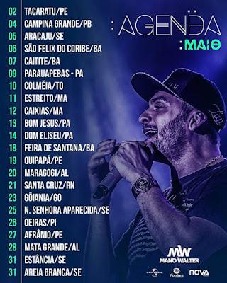 Agenda de Shows cantor Mano Walter  Junho  - 2017
