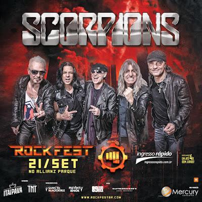 a imagem contém anúncio do show do Scorpions no Rockfest, com a foto da banda, o nome da banda, a logomarca do festival e a data 21/09.