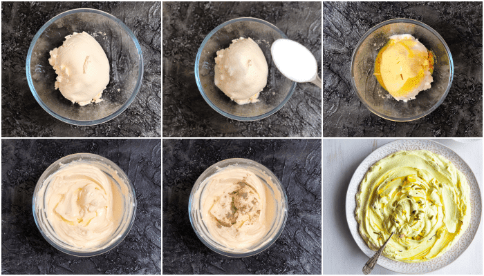 A collage of step by step sugar-free shrikhand recipe