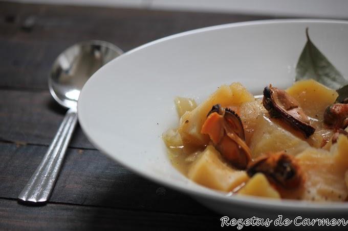 Patatas con mejillones al oporto en crockpot
