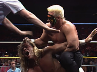 WCW Starrcade 1989 - Sting puts a hurting on Lex Luger