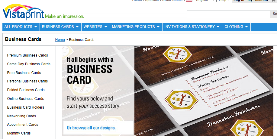 Vistaprint business cards, ordering business cards online