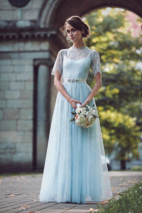 Vestido de novia azul