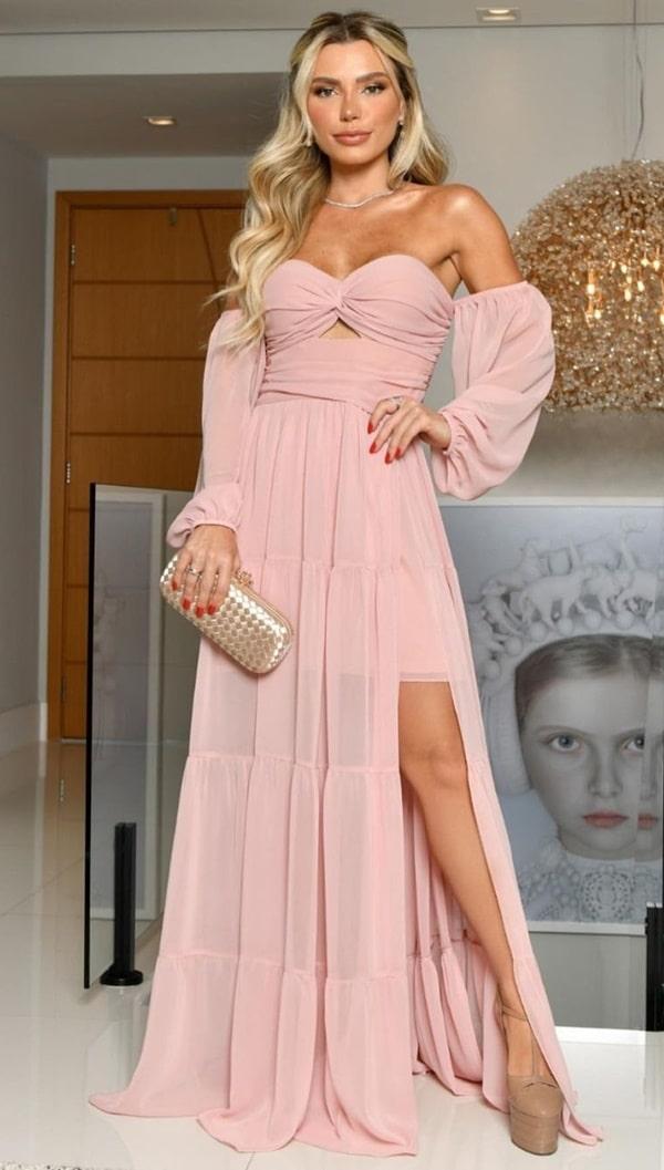 vestido longo rose com manga e fenda