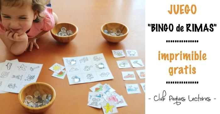 juego para adquirir conciencia fonológica: bingo de rimas portada