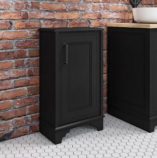 black storage cabinet bathroom
