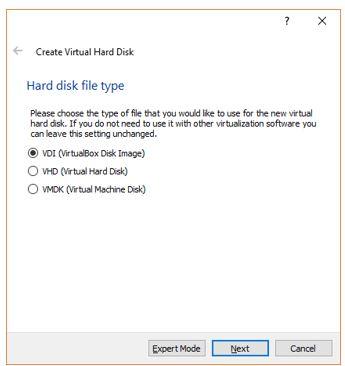 Choose the Type of Virtual hard drive VDI, VHD, VMDK