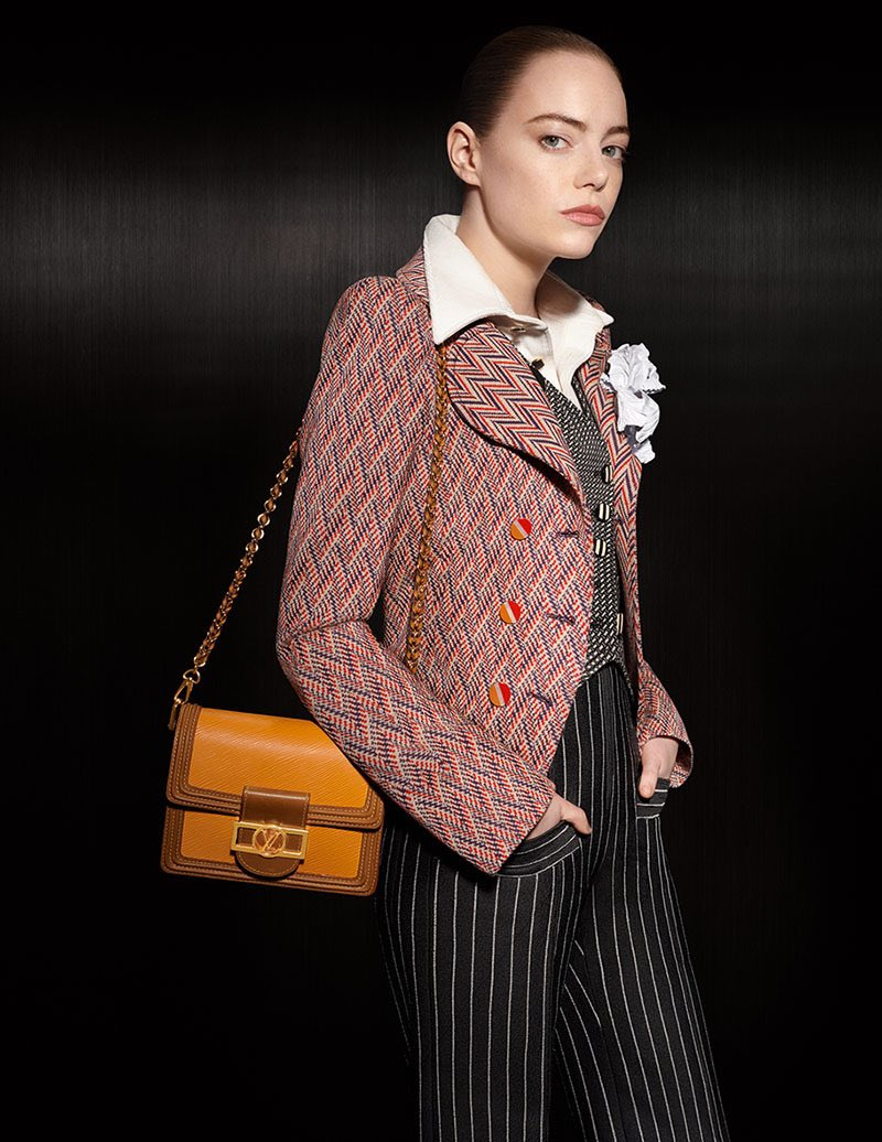 Actress Emma Stone models the spring summer collection of Louis Vuitton