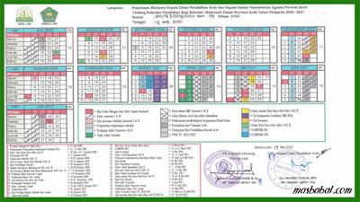 Kalender Pendidikan Provinsi Aceh Tahun Ajaran 2020-2021