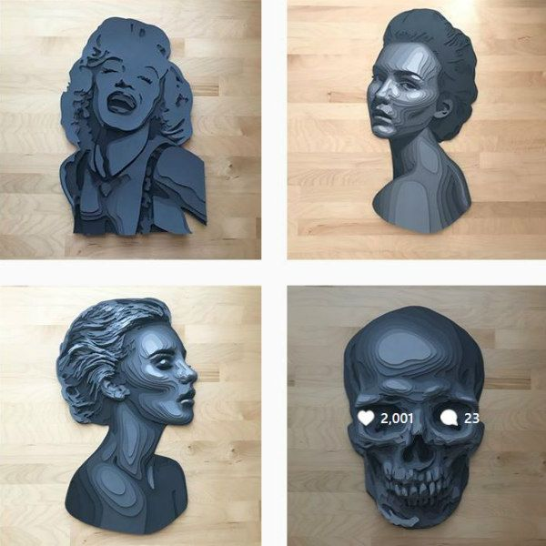 four layered gray paper women resembling marble busts and a skull