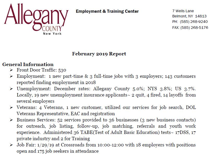 Allegany County Monthly Report - Employment & Training - Feb  2019
