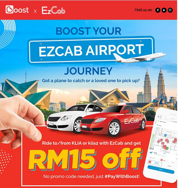 EzCab x Boost Airport discount up to RM30 off - Promo Codes MY