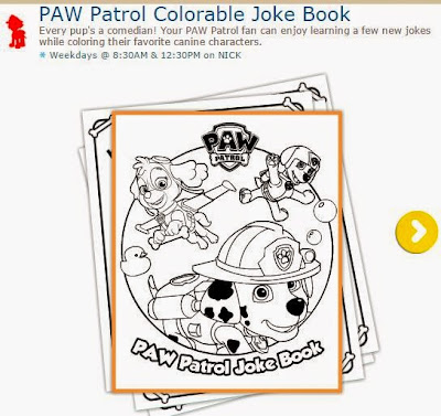 Free Printable Paw Patrol Joke Book with Couloring Pages.