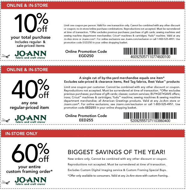 Joann will sometimes release a 40% off printable coupon that is usually valid for in-store purchase only. Find savings % off on this page and find a Joann Fabrics location near you. Joann coupons are also available to use on their markdowns.