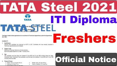 Tata Steel Recruitment 2021 | ITI Diploma | Tata Steel Job Vacancy | Tata Steel