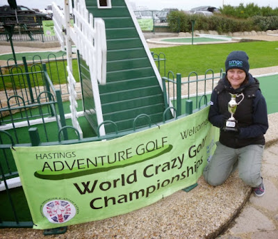 Emily and The Gommery Trophy at the 2014 World Crazy Golf Championships in Hastings. Emily is a two-time winner of the trophy