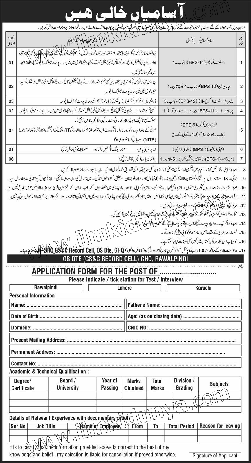 GHQ Rawalpindi Pak Army Jobs June 2020