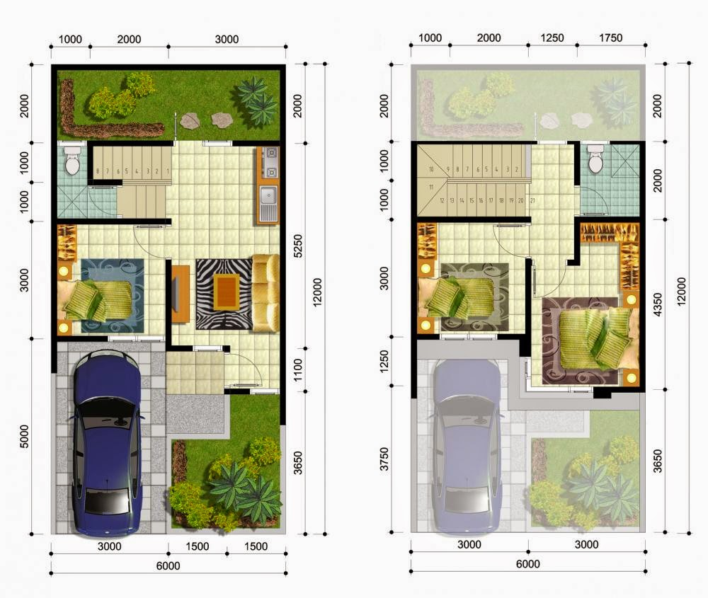 3 Contoh Denah Rumah Minimalis Modern Terbaru: Denah Rumah Minimalis 2 Lantai 8 X 12