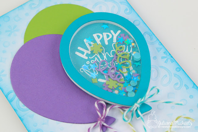 Birthday Balloon Shaker Card by Juliana Micheals featuring Newton's Nook Designs Uplifting Wishes Stamp Set and Balloon Shaker Die Set