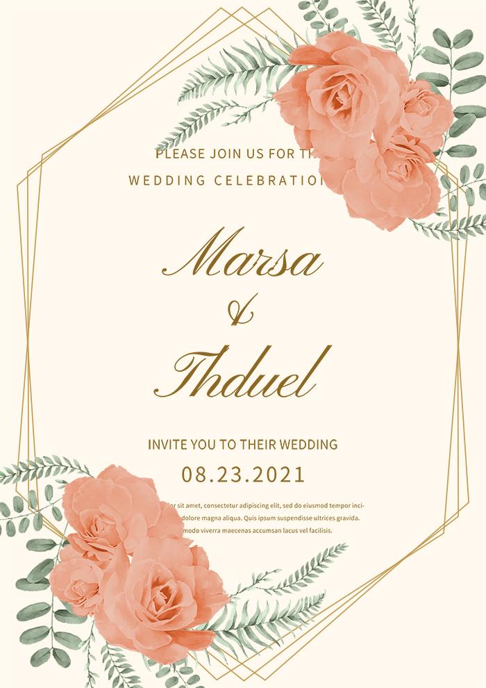 Exquisite Flowers Wedding Invitation Premium Template