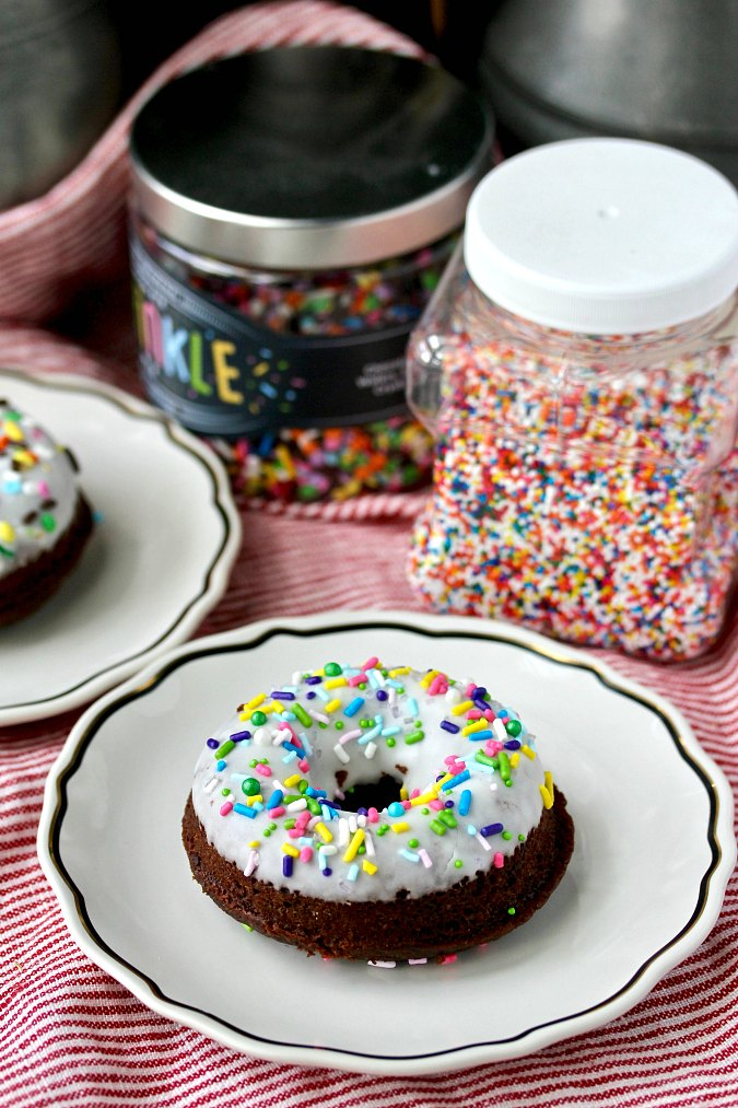 Double Chocolate Baked Donuts with sprinkles