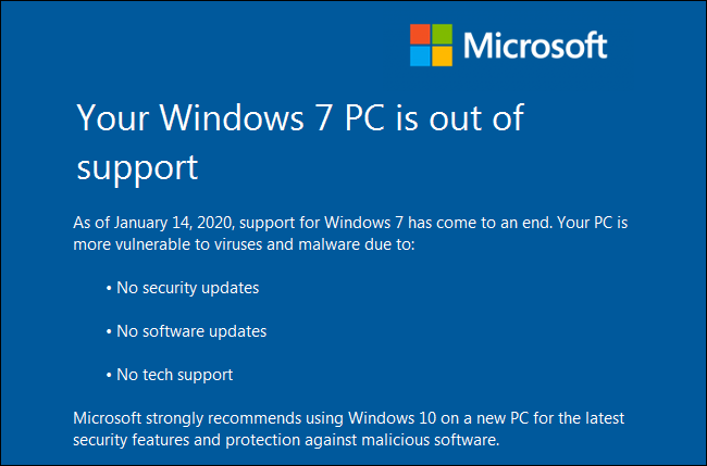 """تحذير """"جهاز الكمبيوتر الخاص بك الذي يعمل بنظام Windows 7 غير متاح"""" على جهاز كمبيوتر يعمل بنظام Windows 7."""