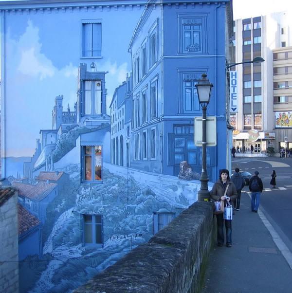 Grafiti atau Lukisan Dinding 3d rumah bangunan gedung