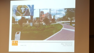 proposed veterans walkway on Town Common - walkway view  near WWI doughboy statue looking to Pleasant St/Main St