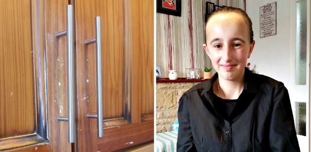 New handles on the kitchen units and my teen with her hair in a ponytail.