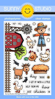 Sunny Studio Stamps Farm Fresh Scarecrow with Barn, Chickens, Duck & Goat Fall 4x6 Clear Photopolymer Stamp Set