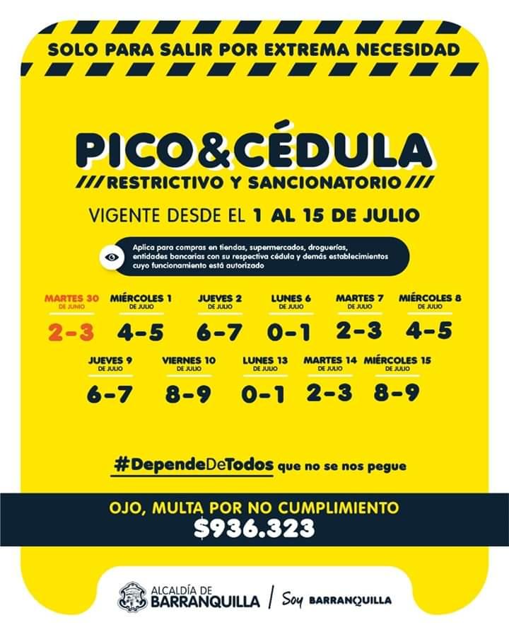 Pico y cédula para la ciudad de Barranquilla