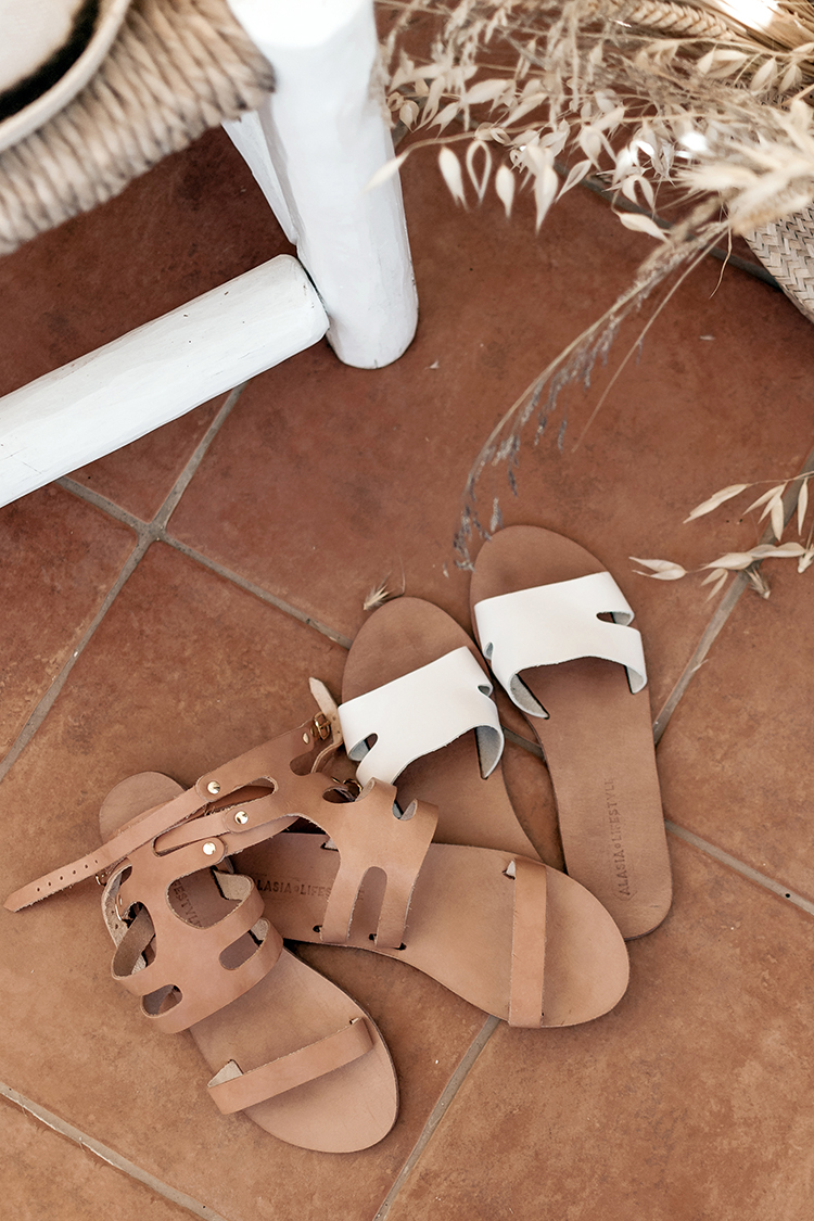 Leather Greek sandals and neoprene beach bags by Alasia Lifestyle.
