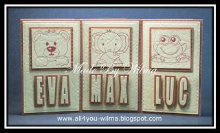 """Kleine kaartjes met de namen van """"Eva"""", """"Max"""" en """"Luc"""" met schaduw en gestempelde beer, gestempelde olifant en een gestempelde kikker. Small cards with the names of """"Eva"""", """"Max"""" and """"Luc"""" with shadow and stamped bear, stamped elephant and a stamped frog."""