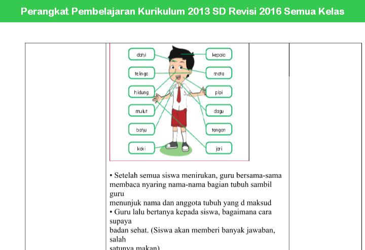 Perangkat Pembelajaran Kurikulum 2013 SD Revisi 2016 Semua Kelas