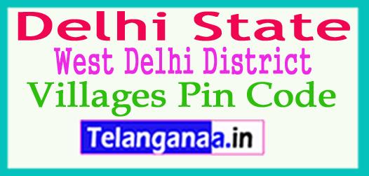 West Delhi Pin Codes in Delhi State