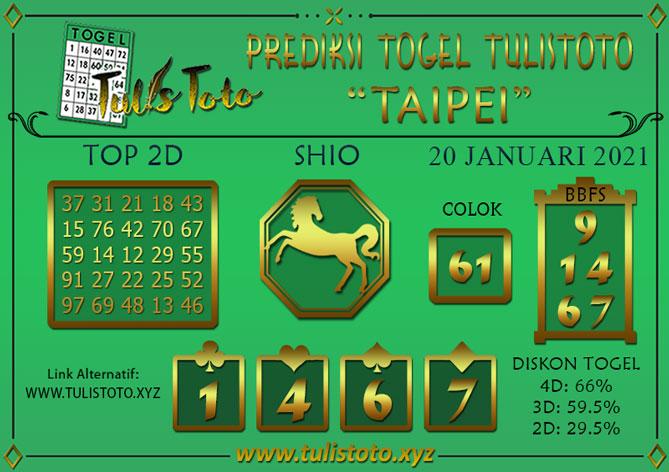 Prediksi Togel TAIPEI TULISTOTO 20 JANUARI 2021