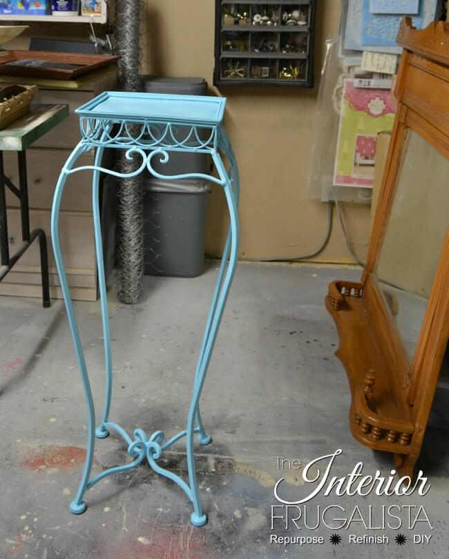 Plant Stand Table Painted Aqua