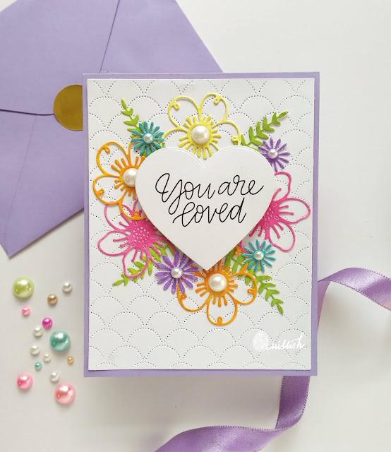 Video Tutorial, Valentine's Day card, CAS Valentine's day card, Floral dies card tutorial, Sweet and simple valentine's day card, STAMPLorations floral dies