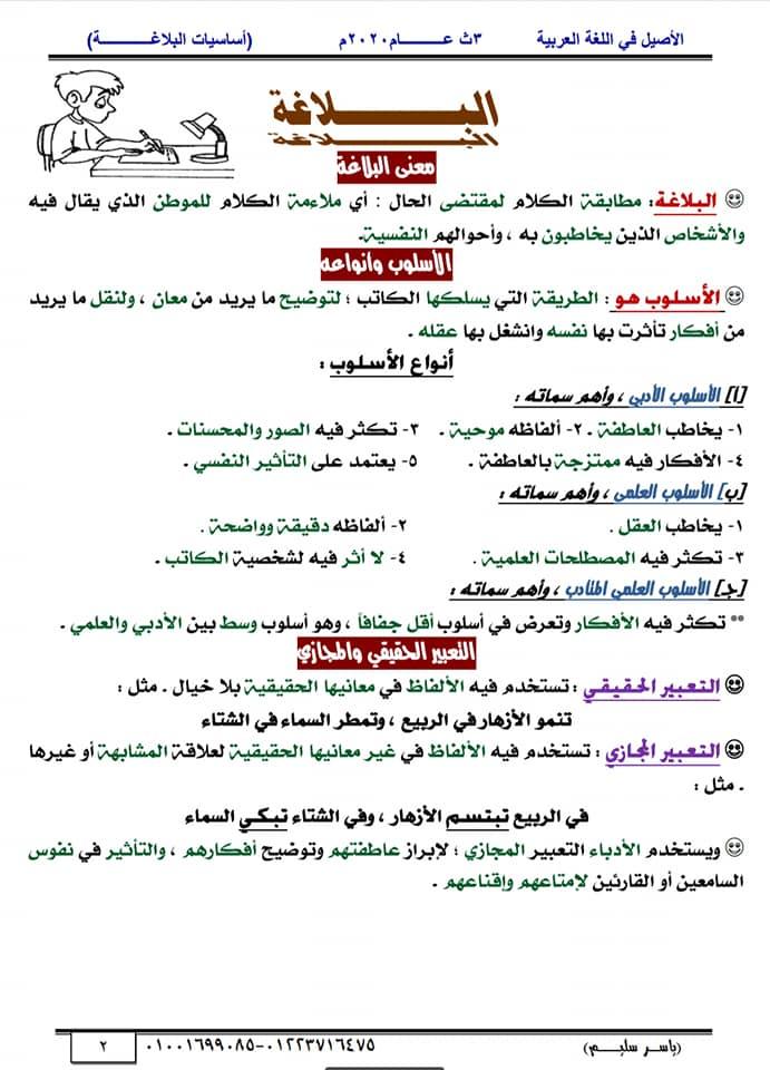 أساسيات البلاغة للثانوية العامة في١٥ورقة أ/ ياسر سليم 2