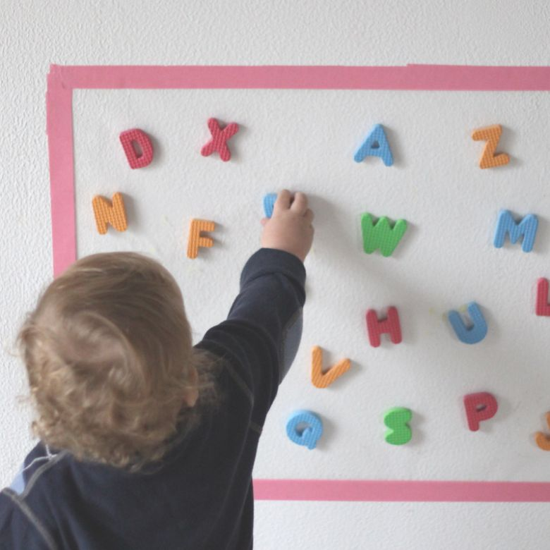 activities for babies - sticky wall foam letter grab