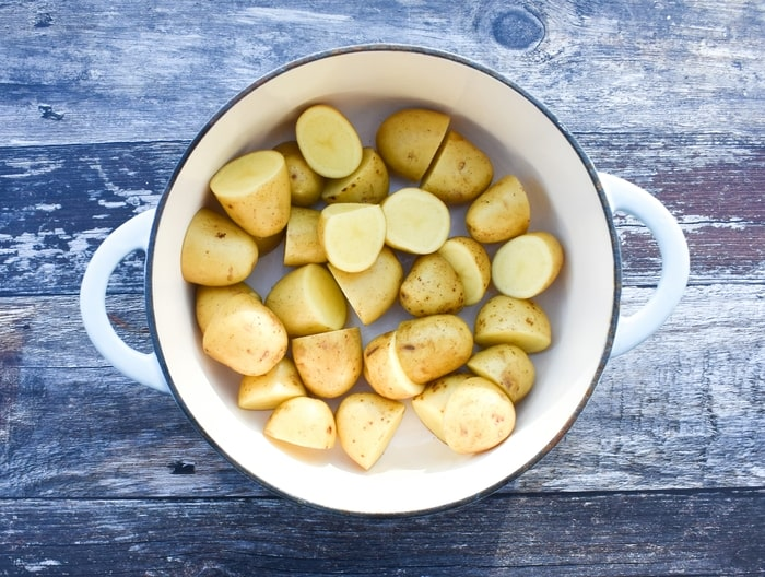 Baby Potatoes in a white cast iron pan