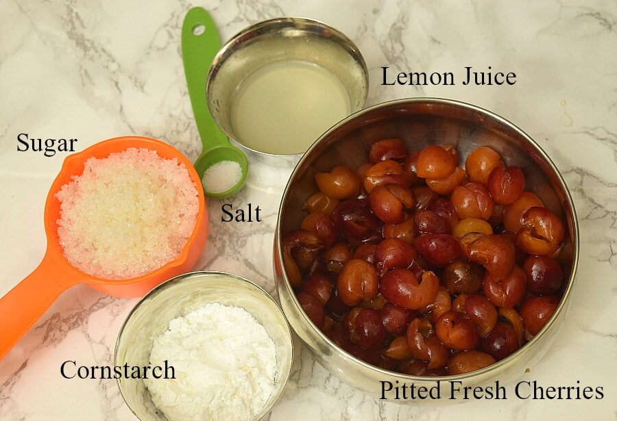 ingredients - cherries,sugar,salt,cornstarch,lemon juice to make cherry filling