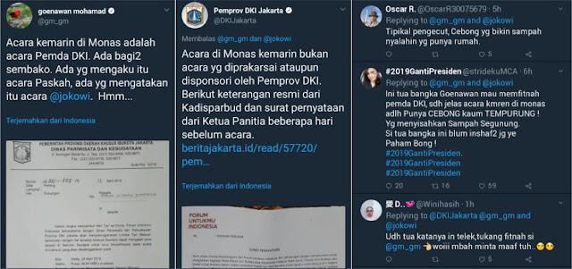Pemprov DKI Bantah Goenawan Mohamad yang <i>Tercyduk</i> Fitnah Soal Acara Sembako di Monas