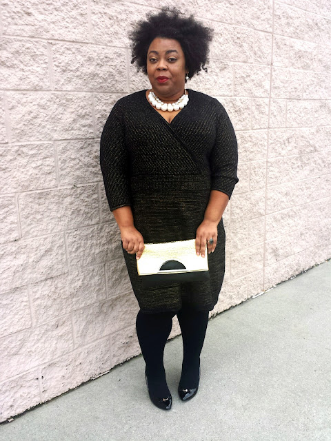 plus size sweater dress, clutch, tights, pumps