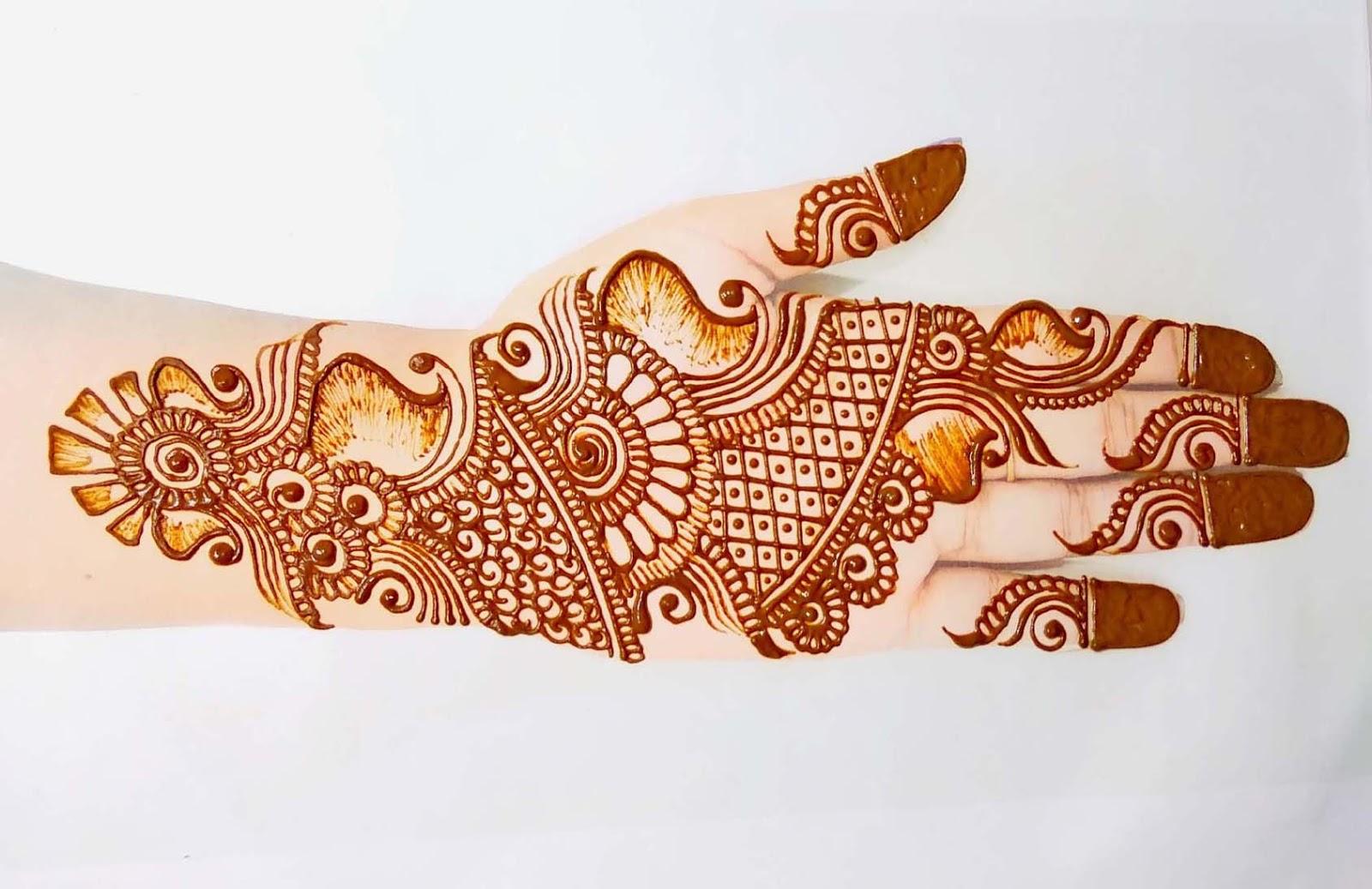 Easy Bridal Mehndi Design Front Hand
