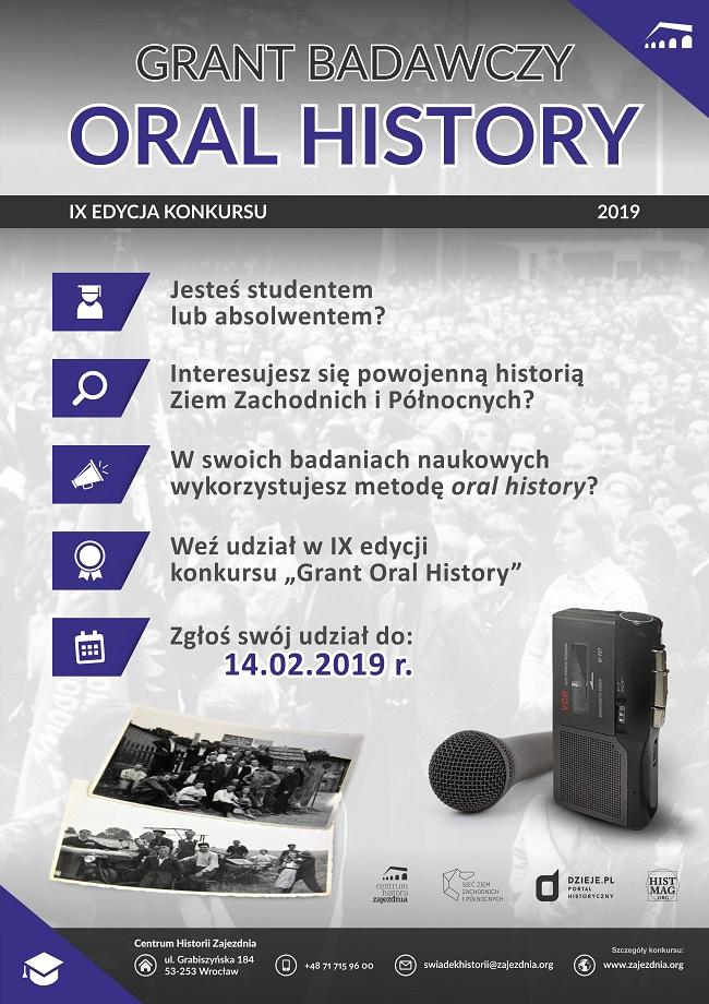 Grant Oral History IX - konkurs dla historyków (plakat reklamujący)