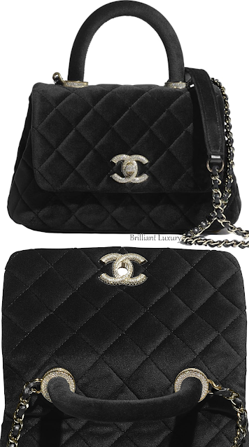 Chanel black mini velvet strass bejeweled top handle flap bag #brilliantluxury